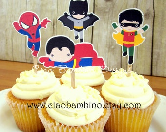 Superhero Cupcake Toppers / Superman, Spiderman, Batman and Robin Birthday Party Cupcake Toppers / Set of 12