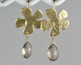 Gold Flowers and Smoky Quartz Gemstone Earrings