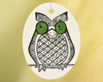 Owl Car Air Freshener, Green Eyes