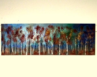 Large original oil painting modern contemporary Birch trees copper Blue Impasto  landscape Vadal - 36'