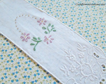 Hand Embroidered Cut Work - Dainty- Floral Bookmark Lavender - Book Lover's Gift