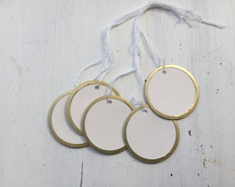 Gold Metal Rim Tags,  Round Tags, 12 Gift Tags, Wedding Tags, Stamping Tags,M01