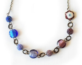 Blue Purple Lampwork Beads Necklace - Flower and Beads Necklace - Beadwork Necklace - Ombre Blue Necklace