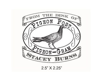 Pigeon Post Pigeon Gram From the desk of Personalized Rubber Stamp G09