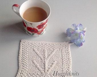 Irish pot holder.  Aran stitch. Original design. plus knitting pattern