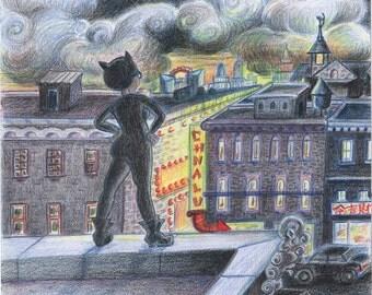 Catwoman at Dusk Print