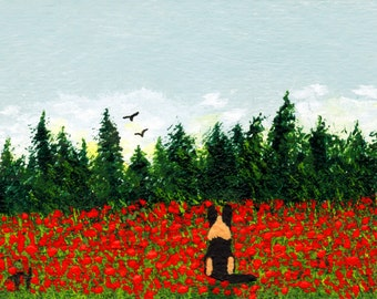 German Shepherd Dog Poppy Field ACEO Folk Art PRINT of Todd Young painting