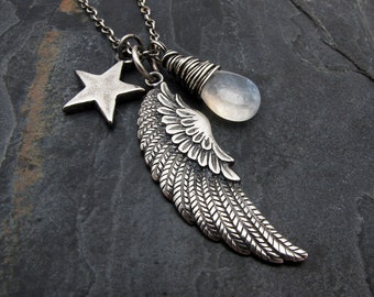 wing necklace, bird wing pendant, Valentine gift, angel wing necklace, wing pendant, moonstone necklace, star pendant, wing pendant necklace