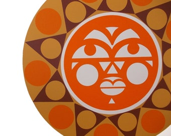 Mod Screen Print Mayan Sun Face, Op Art Screenprint, Vintage 70s Bohemian Original Art, Serigraph Print, Orange Brown Stylized Geometric Art