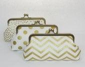 Gold Bridesmaid Clutch Set, Personalized Wedding Clutch Purse, Metallic Gold Wedding, Set of 3 - Choose the fabrics