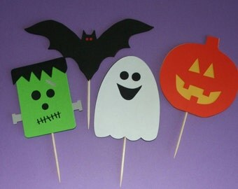 Frankenstein, Ghost, Jack O'Lantern, and Bat Halloween Cupcake Toppers (set of 12)