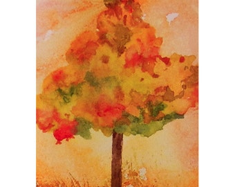 Autumn Tree Mini Painting, Tiny Fall Watercolor, Tree ACEO, Original Watercolor Painting, Oh My Leaves, Optional Easel