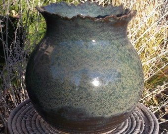 Vase with Rocky Mountain Rim - Handmade Pottery