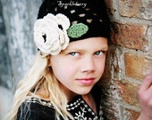 "Beanie Hat Crocheted  ""The Falon"" Black, Ivory, Sage Open Weave Beanie"