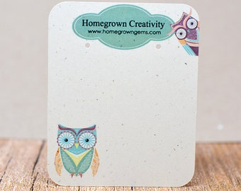 Customized Jewelry Display Cards - Earring Cards Colorful Cute Owls