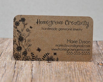 Recycled Kraft Brown Business Cards Flowers Butterfly Tree Floral Garden - Calling Cards - Mommy Cards - Display Cards