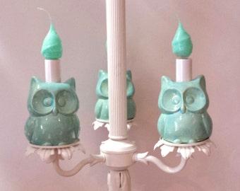 Owl Chandelier Aqua Home Decor Children's room Kitchen Nursery Decor