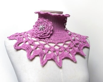 Pink Crochet Neckwarmer / Collar with turtleneck, ruffle neckline and lace collar - Made to Order - choose the color  - NINU'