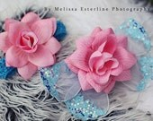 Newborn Photo Prop Fairy Wings, Pink Blue Wings and Rose Headband, Baby Butterfly Wings & Headband Set, Pink Blue Fairy Wings, Infant Wings