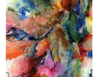 """Nature Autumn Mixed Media Art, painting, Giclee Archival art print from original painting """"Into The Fall No. 2"""" by Kathy Morton Stanion EBSQ"""