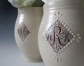 Small Monogram Vase - Custom Ceramic Vase - Hand thrown