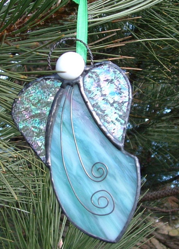 Green Pink And White Stained Glass Angel Ornament Angel