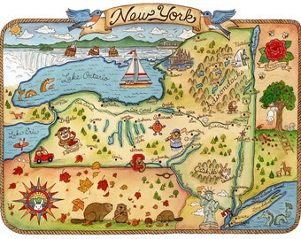 "New York State Map Art Print 8"" x 10"""