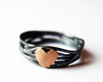 Heart Nest Ring- Sterling Silver and 14k Rose Gold