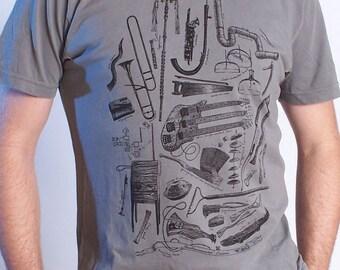 Music Shirt - Odd Musical Instruments - Musician Gift - Instrumental Oddities - Graphic Tee Men - Bass Guitar Shirt - Theramin