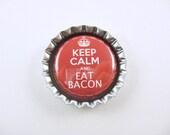 Bottle Cap Fridge Magnet Keep Calm Eat Bacon Red White, Cute Fridge Magnet