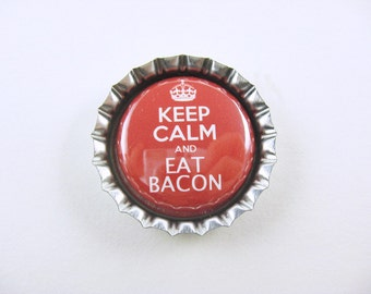 Bottle Cap Fridge Magnet Keep Calm Eat Bacon Red White, Cute Fridge Magnet
