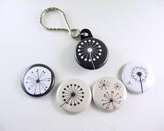 Nature Bottle Cap Fridge Magnet, Key Chain, dandelion magnet, nature keychain, key fob, nature, gift for him, gift for her, black, white