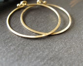 14k Gold Artisan Hoop earrings solid gold 1 inch round hammered endless hoops