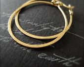 18k gold endless hoops hammered solid gold hoop earrings