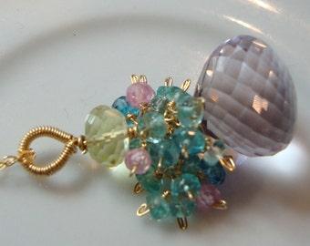 Pink Amethyst Apatite Lemon Quartz Necklace