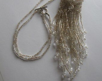 Beadwoven Amulet Necklace, Mini Wish Bag in Silver and Beige