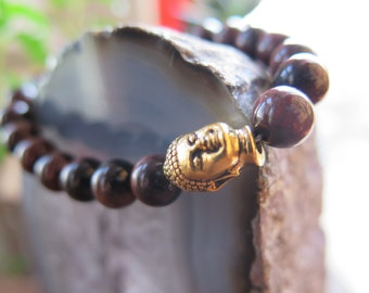 Red Tigerseye Buddha Gemstone Bracelet - Blue Grey Tassel -  Gemstone - Yoga Spring Fashion - Bohochic Gypsy - Gold Brass - Adjustable