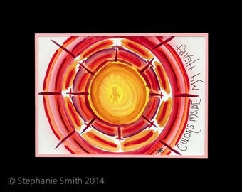 Original Expressive Energetic Mandala Matted Watercolor Painting: Colors Inside my Heart