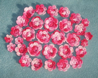 31 handmade shaded pink pearl cotton thread crochet applique flowers  -- 621