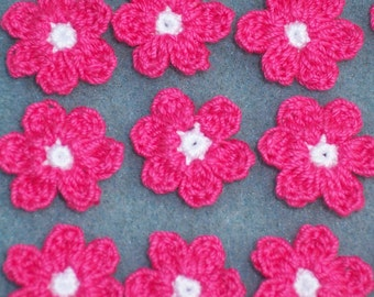 16 handmade white and hot pink crochet applique flowers -- 1959