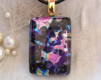 Dichroic Glass Pendant, Necklace,  Glass Jewelry, Pink, Purple, Necklace Included