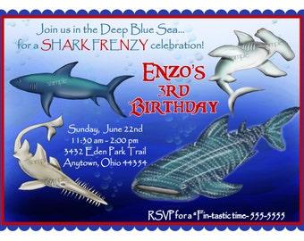Shark Invitations, Shark invites, Shark Party invitations, Shark Frenzy, Whale Shark, Great White Shark,Ocean  invites,under the sea invites