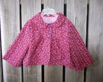 Girls jacket size 5/6 years made from found/ reclaimed baby corduroy fabric, girls coat, girl gift, Eco wear, photo fashion