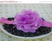 ON SALE Light Purple Satin and Tulle Puff Flower Elastic Headband