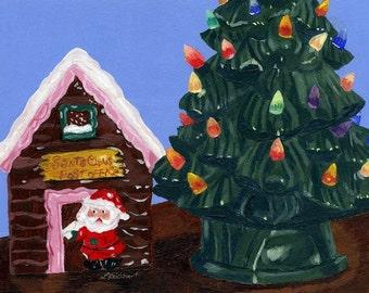 Acrylic Holiday Christmas Vintage Santa Figure Ceramic tree Original 5 x 7