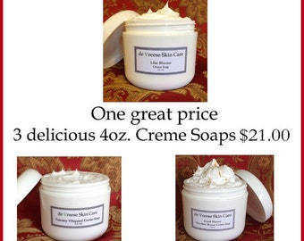 Whipped goat milk Cream Soaps  - 3 -  4oz Creme soaps for 21.00 SAVE