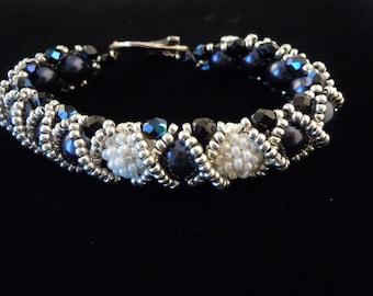 Navy Blue Bracelet, Pearl Bracelet, Caterpillar Bracelet, Beaded Bead Bracelet, BFF Bracelet, RAW Bracelet