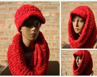 Red w/Gold Streaks Hat and Neckwarmer Set - Cowl, Cap, Crochet hat set - handmade cap and scarf