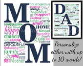 Personalized Printable Sign for Mom or Dad  - Word Collage Custom Artwork