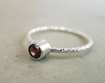 Garnet stacking ring, Sterling Silver, red gemstone, textured,  Birthstone jewelry
